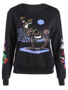 Collar Del Reno Ronda De Impresión De Lentejuelas De La Camiseta - Negro M