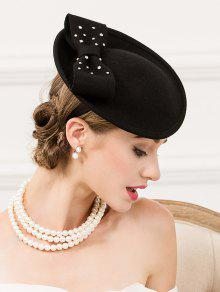 Diamantes De Imitación De Fieltro De Lana Sombrero De Cóctel - Negro