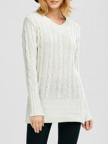 Cuello En V Cable De Punto Jumper - Blanco