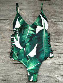قطع شجرة النخيل قطعة واحدة ملابس السباحة - أخضر L