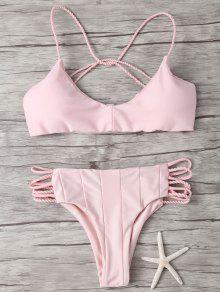 Bikini à Fines Bretelles Entrecroisées - Rose PÂle L