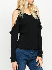 Lace Trim Cold Shoulder Tee - Black S