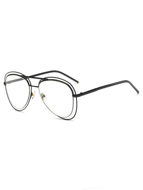 Llantas transparente de doble lente de las gafas de piloto - Negro