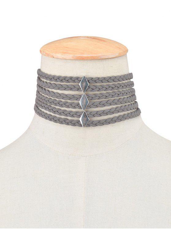 Gargantilla cuerda de la trenza - Gris