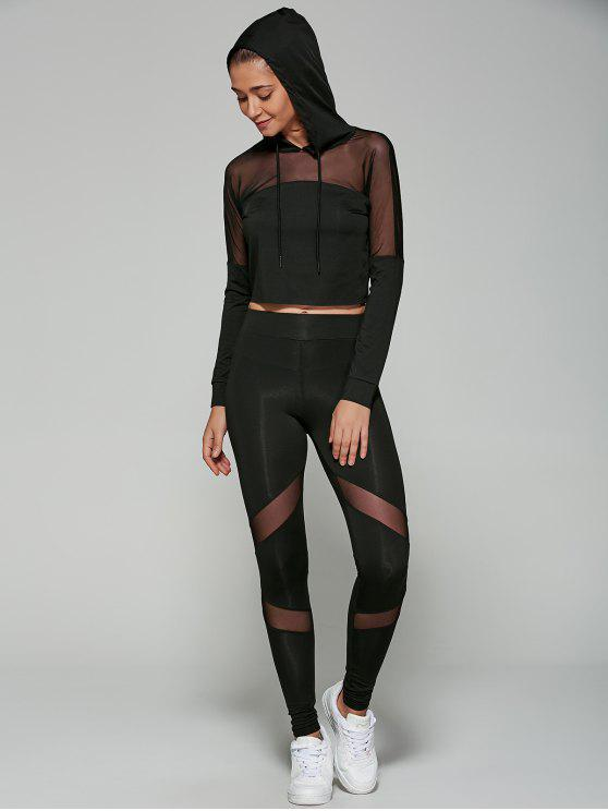 sale Cropped Hoodie with Mesh Leggings - BLACK M