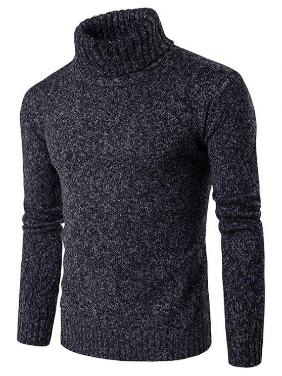 Camisola suéter gola alta com mangas compridas - Preto M
