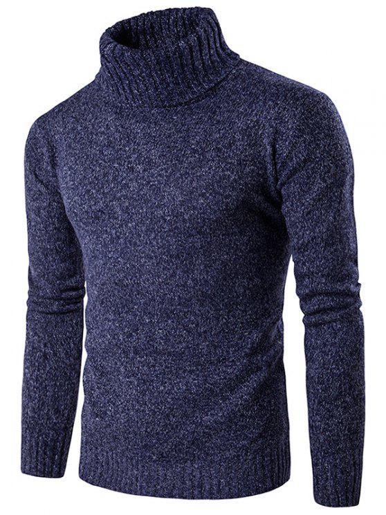 Suéter Manga Larga de Mezcla de Punto Cuello Cisne - Azul Marino  L