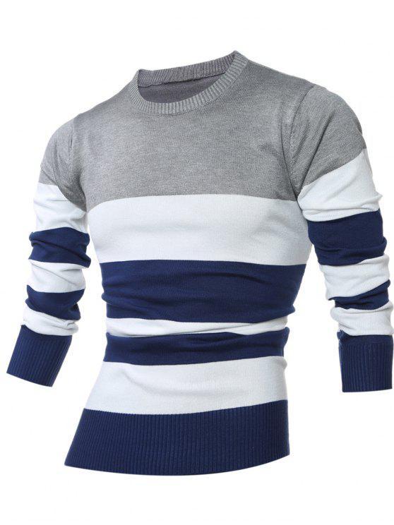 Camisola suéter listrada com gola redonda - Cinza claro L