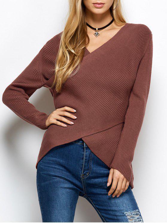 Acanalado envoltura suéter - Rojo Única Talla