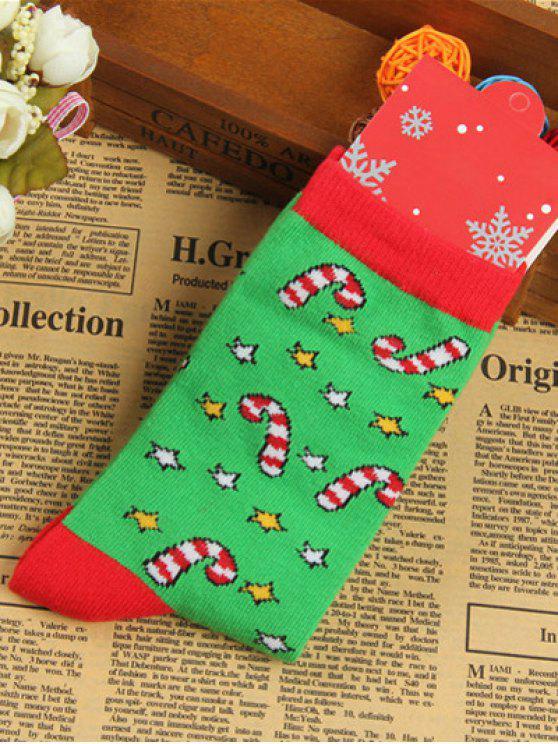 Paire de chaussettes tricotées jacquard de Noël - Vert