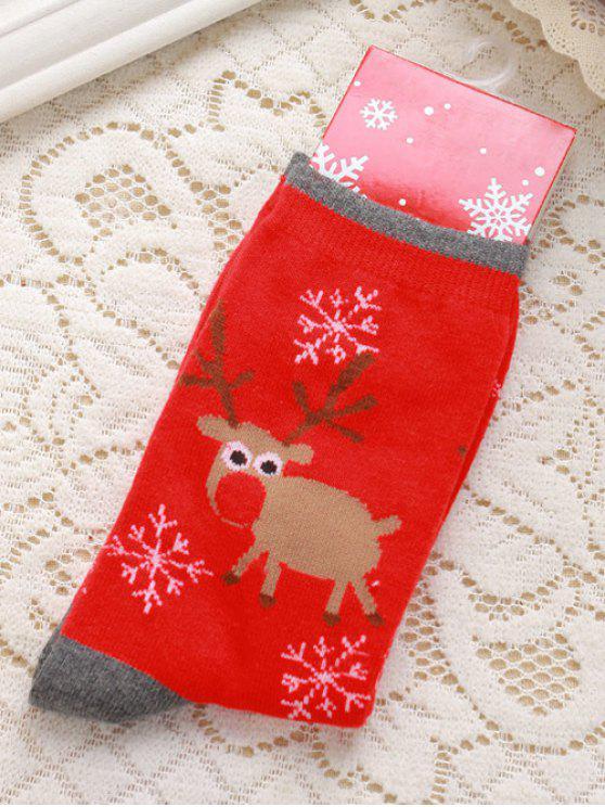 Par de malha cervos flocos de neve Jacquard peúgas do Natal - Vermelho