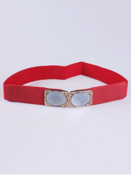 women's Faux Opal Elastic Waist Belt - RED