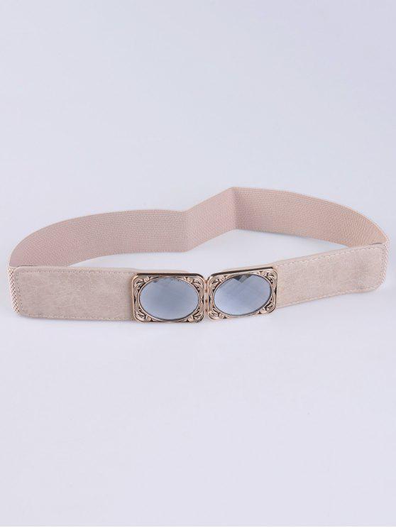 ladies Faux Opal Elastic Waist Belt - IVORY COLOR