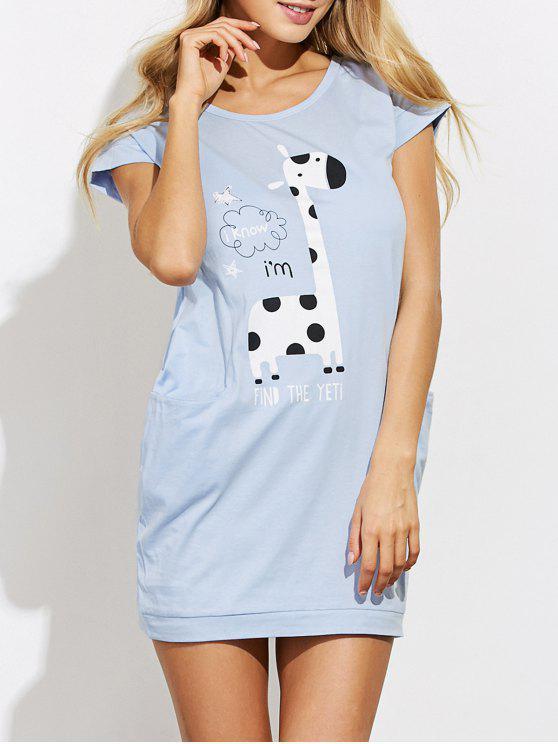 buy Cartoon Print Casual Night Dress - LIGHT BLUE S