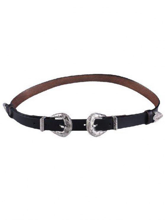 trendy Embossed Double Buckle Faux Leather Belt - BLACK