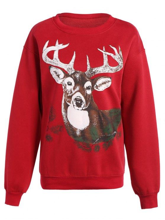 hot Sika Deer Christmas Sweatshirt - RED ONE SIZE