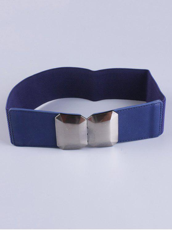 chic Smooth Alloy Buckle Elastic Waist Belt - BLUE