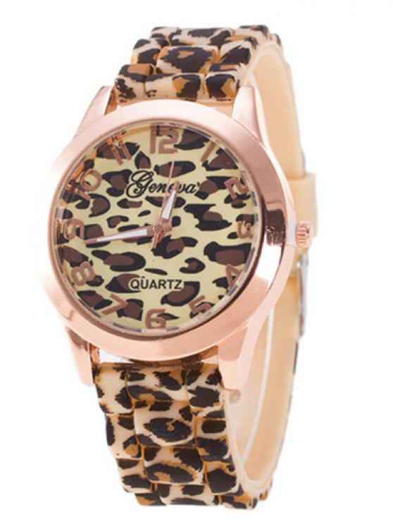 Leopard-Silikon-Band-Quarz-Uhr - Braun