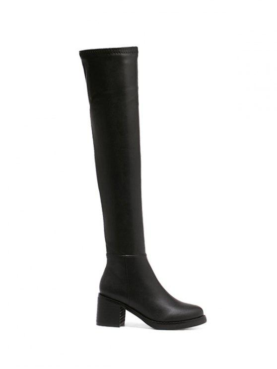 fashion Platform Zipper Rpund Toe Thigh Boots - BLACK 38