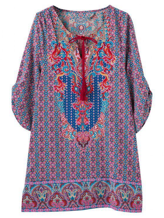 Impresión Retro V vestido de la túnica del cuello - Colormix S