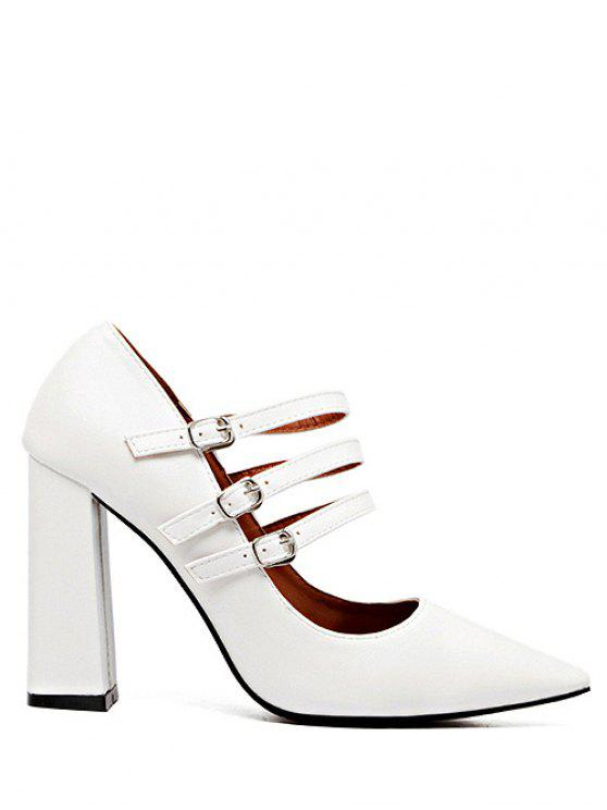 159bc9f72bb 35% OFF  2019 Pointed Toe Chunky Heel Buckles Pumps In WHITE