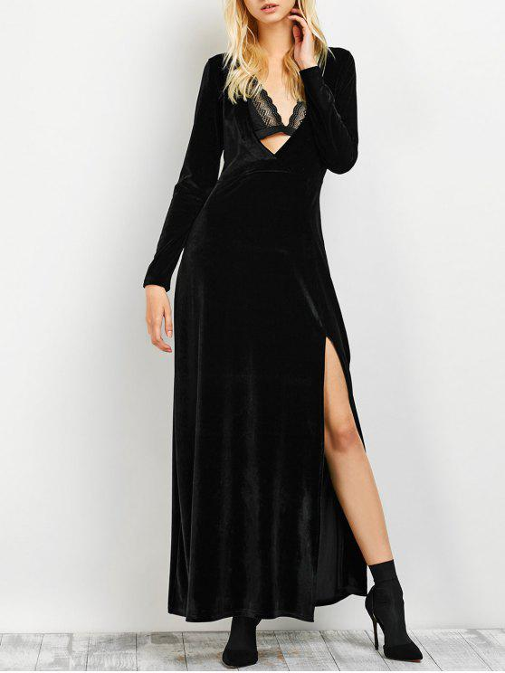 unique Long Sleeve High Slit Low Cut Maxi Dress - BLACK L
