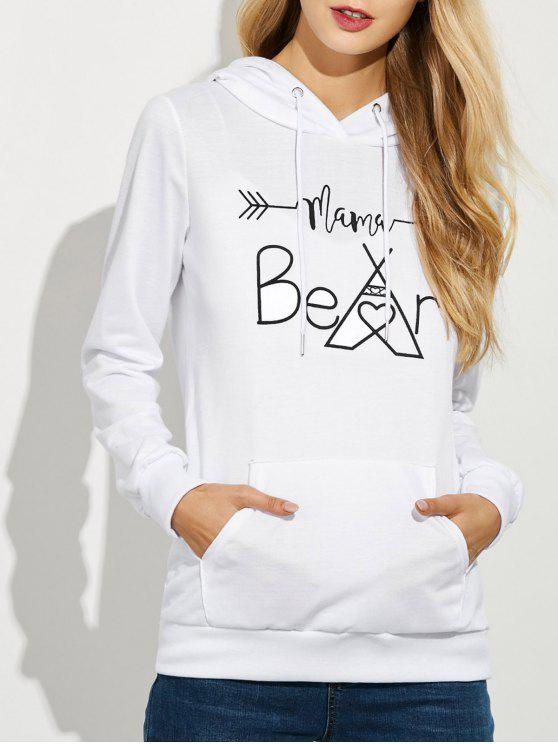 fancy Casual String Hoodie With Letter Print - WHITE XL