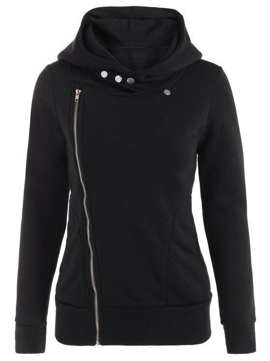 new Fleece Inner Asymmetric Zip Hoodie - BLACK L