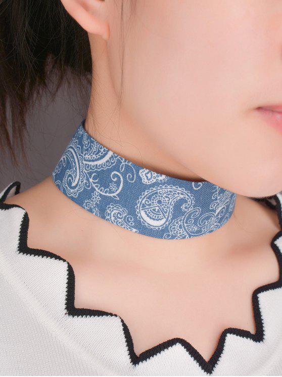 womens Graphic Print Denim Choker Necklace - BLUE