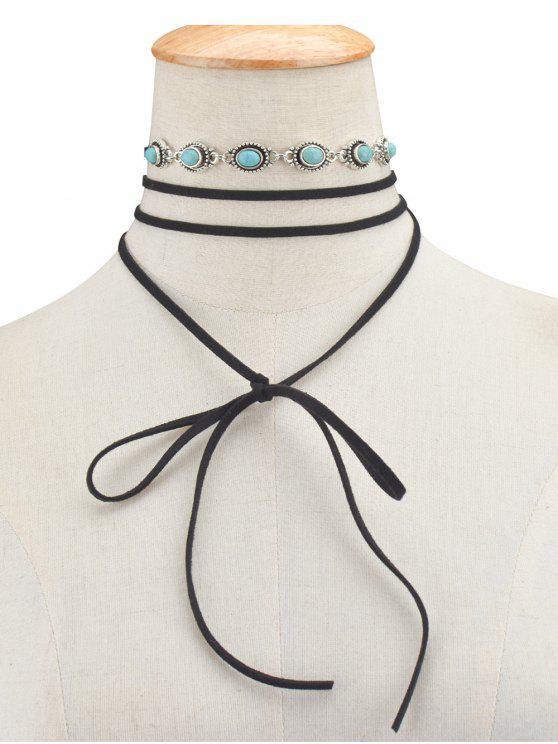 Faux Collar Gargantilla Arcos de la turquesa - Negro