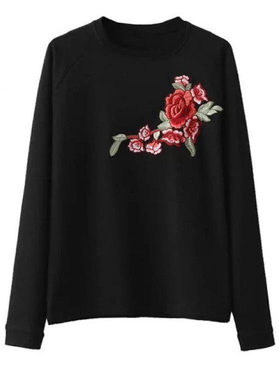 سويت شيرت مطرز بالأزهار راجلان الاكمام - أسود M