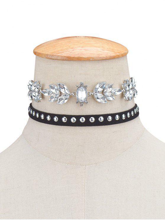 Ensemble de 2 colliers ras du cou en velours avec décoration de rivets et de cristaux artificieux - Noir