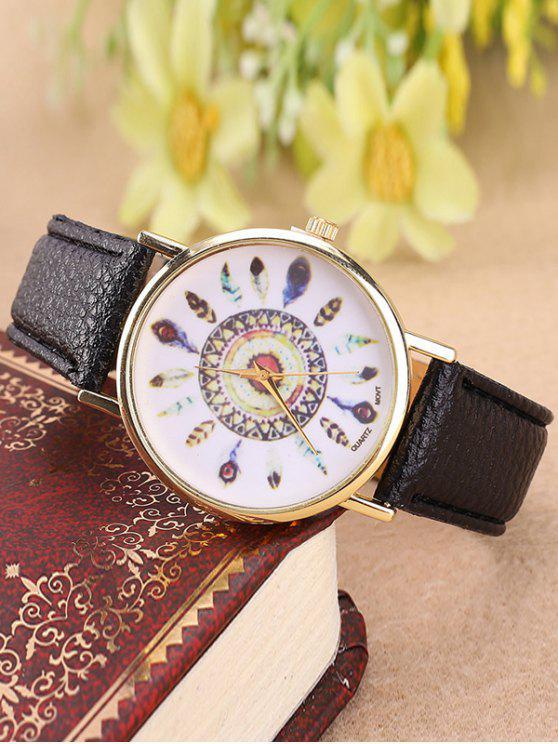 Relógio Quartzo Pulseira Couro Falso Mostrador Com Penas - Preto