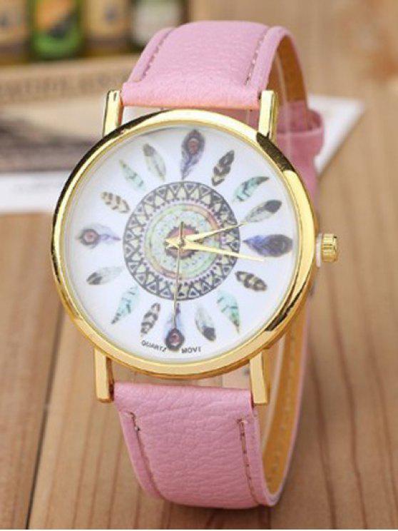 Reloj Cuarzo Patrón Plumas Cuero Artificial - Rosa