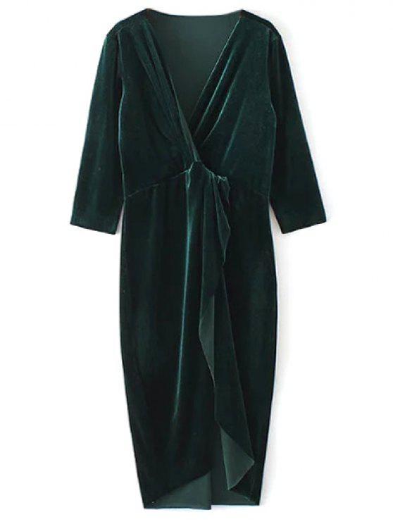 outfit Twist Front V Neck Velvet Dress - DARK GREEN M