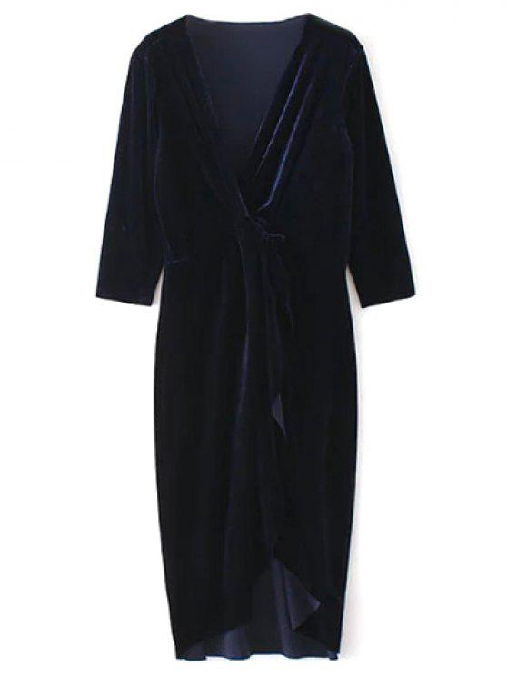 shop Twist Front V Neck Velvet Dress - PURPLISH BLUE L