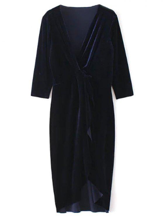 Torça Frente V Neck vestido de veludo - Azul Arroxeado L