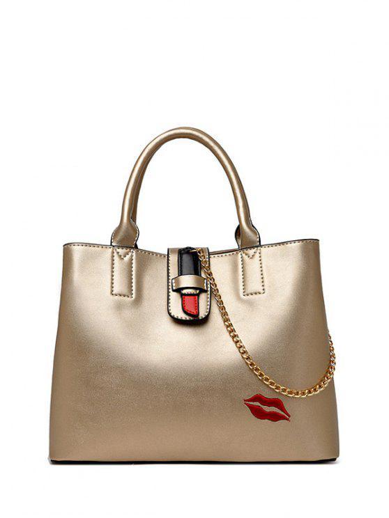 hot Chains Embroidered Lip Handbag - GOLDEN