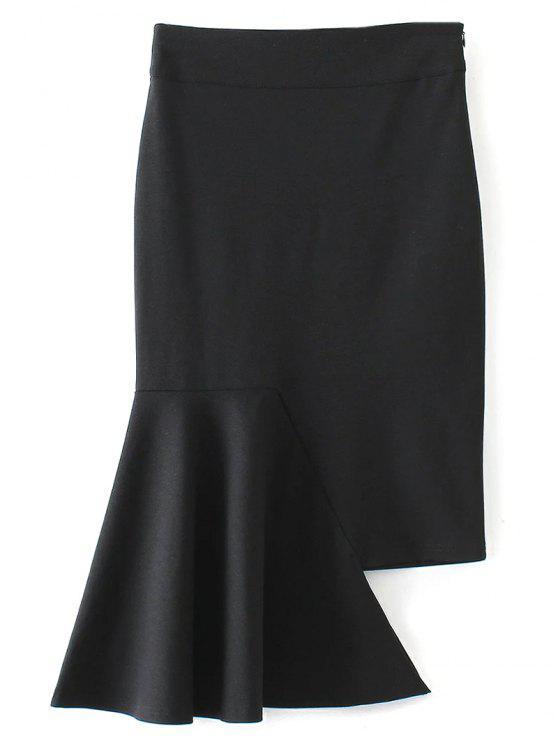 تنورة غير متماثلة البوق - أسود M
