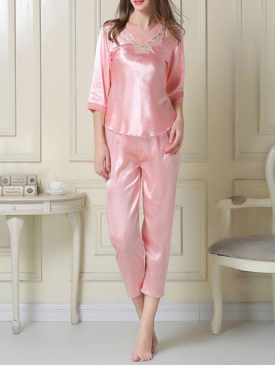 Cetim Tee e Capri calças de pijama - Rosa L