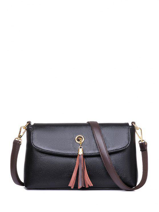 best PU Leather Eyelet Tassel Shoulder Bag - BLACK