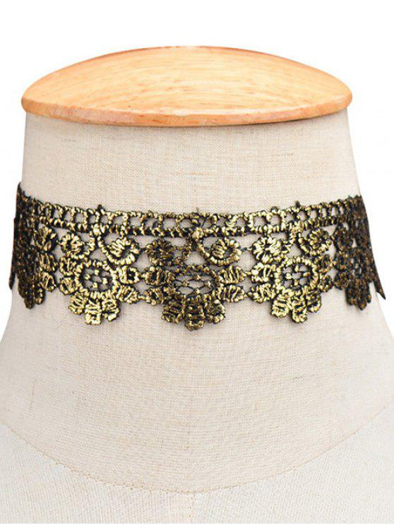 fashion Flower Wide Choker - GOLDEN