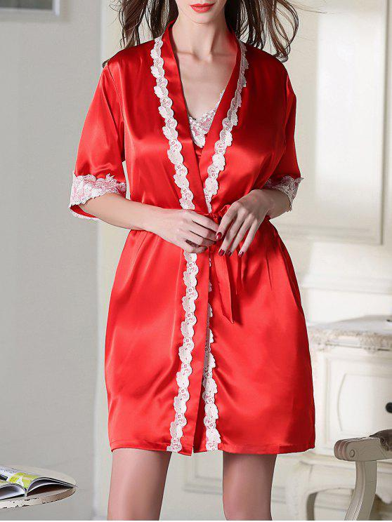 women's Satin Slip Dress and Belted Sleepover Robe - RED 2XL