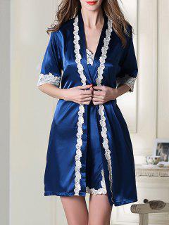 Satin Slip Dress And Belted Sleepover Robe - Royal Blue M
