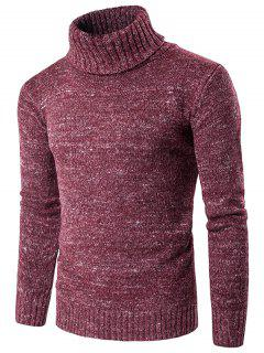 Roll Neck Knit Blends Long Sleeve Sweater - Wine Red M
