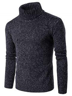 Roll Neck Knit Blends Long Sleeve Sweater - Black M