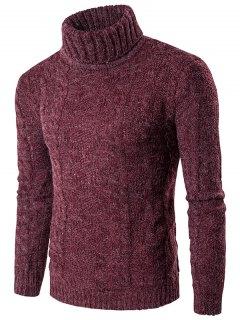 Roll Neck Knit Blends Verical Kink Design Sweater - Red M