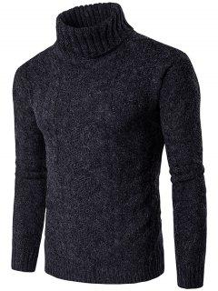 Roll Neck Knit Blends Verical Kink Design Sweater - Black S