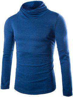 Slim Fit High Neck Pullover Strick - Blau M