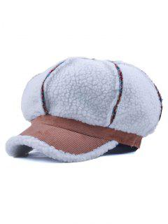 Striped Flocking Curved Brim Hat - Khaki